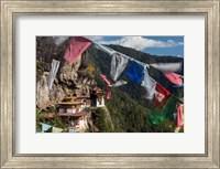 Framed Bhutan, Paro Prayer Flags Fluttering At The Cliff's Edge Across From Taktsang Monastery, Or Tiger's Nest