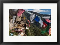 Framed Bhutan, Paro Prayer Flags Fluttering At The Cliff's Edge Across From Taktsang Monastery, Or Tiger's Nest