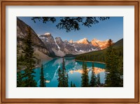 Framed Alberta, Banff National Park, Moraine Lake At Sunrise