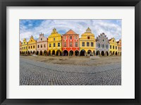 Framed Czech Republic, Telc Panoramic Of Colorful Houses On Main Square
