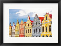 Framed Europe, Czech Republic, Telc Colorful Houses On Main Square