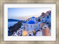 Framed Greece, Santorini, Oia Sunset On Coastal Town