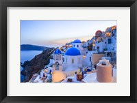 Framed Greece, Santorini, Oia Sunset On Coastal Town
