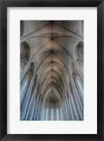 Framed Iceland, Reykjavik, Ribbed Vaults In The Modern Cathedral Of Hallgrimskirkja