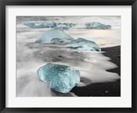 Framed Icebergs On Black Volcanic Beach Near The Jokulsarlon Glacial Lagoon In The Vatnajokull National Park, Iceland