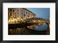 Framed Italy, Lombardy, Milan Historic Naviglio Grande Canal Area Known For Vibrant Nightlife