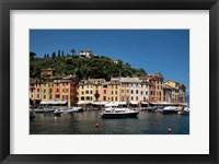 Framed Italy, Province Of Genoa, Portofino, Fishing Village On The Ligurian Sea, Pastel Buildings Overlooking Harbor