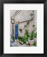Framed Italy, Puglia, Brindisi, Itria Valley, Ostuni Blue Door And Potted Plants