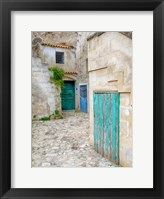 Framed Italy, Basilicata, Matera Doors In A Courtyard In The Old Town Of Matera