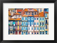 Framed Europe, Portugal, Porto Colorful Building Facades Next To Douro River