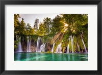 Framed Europe, Croatia, Plitvice Lakes National Park Waterfall Landscape
