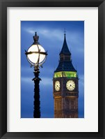 Framed Europe, Great Britain, London, Big Ben Clock Tower Lamp Post