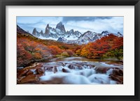 Framed Argentina, Los Glaciares National Park Mt Fitz Roy And Lenga Beech Trees In Fall