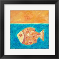 Framed Fish With Spiral Sun