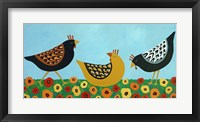 Framed Hens and Poppies