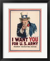 Framed Uncle Sam, I Want You for the U.S. Army, 1917