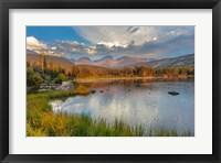 Framed Sunrise On Hallett Peak And Flattop Mountain Above Sprague Lake, Rocky Mountain National Park, Colorado