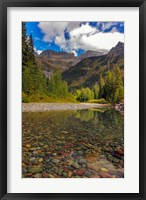 Framed Mcdonald Creek With Garden Wall In Early Autumn In Glacier National Park, Montana