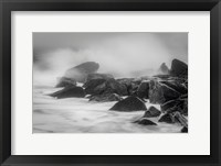 Framed New Jersey, Cape May, Black And White Of Beach Waves Hitting Rocks