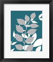 Framed Teal Foliage I