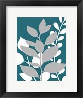 Framed Teal Foliage II