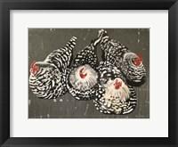 Framed Four Hens