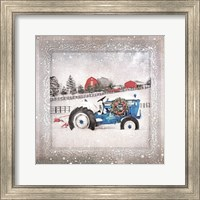 Framed Christmas Tractor
