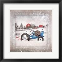 Framed Christmas Tractor
