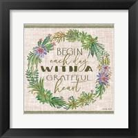 Framed Grateful Heart Succulent Wreath