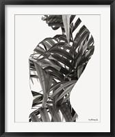Framed Black & White Palm Leaves Woman