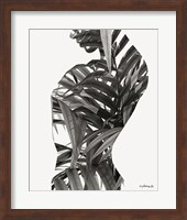 Framed Black & White Palm Leaves Woman
