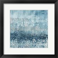 Framed Rain Abstract IV Blue Silver