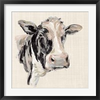 Framed Expressionistic Cow I Neutral Linen