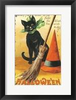 Framed Halloween Nostalgia Cat with Broom