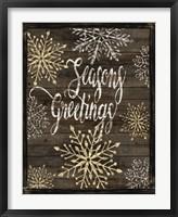 Framed Snowflake Seasons Greetings