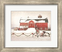 Framed Christmas Barn and Bike