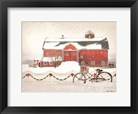 Framed Christmas Barn and Bike