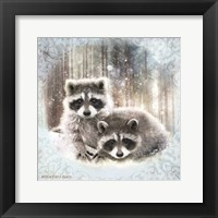 Framed Enchanted Winter Raccoons