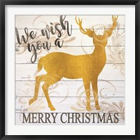 Framed We Wish You a Merry Christmas Deer
