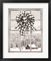 Framed Christmas Barn with Bow