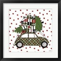 Framed Christmas Car