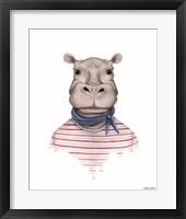 Framed Hippo in Handkerchief