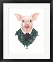 Framed Pig in Plaid