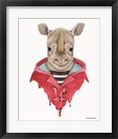 Framed Rhino in a Raincoat