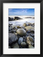 Framed Sunrise On Coast Beach And Rocks