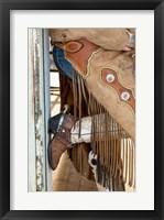 Framed Cowgirl Standing In Doorway Of Old Log Cabin