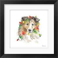 Framed Holiday Paws IX on White
