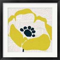 Framed Pop Art Floral III Yellow Newsprint