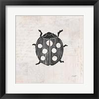 Framed Ladybug Stamp BW