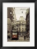 Framed Tram On A Street, Piazza Del Duomo, Milan, Italy
